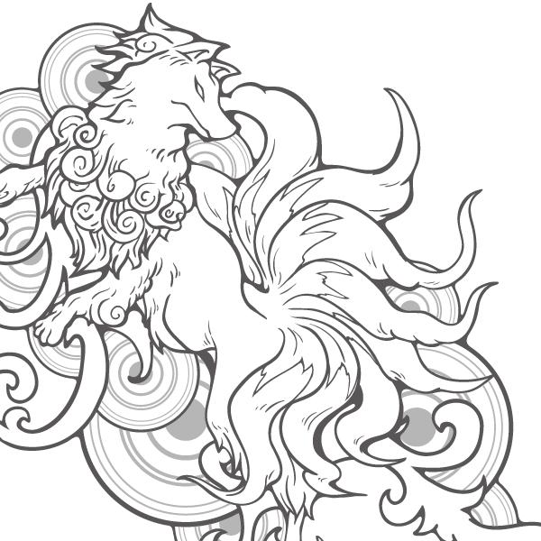 [和柄デザイン企画]九尾の狐(仮称)