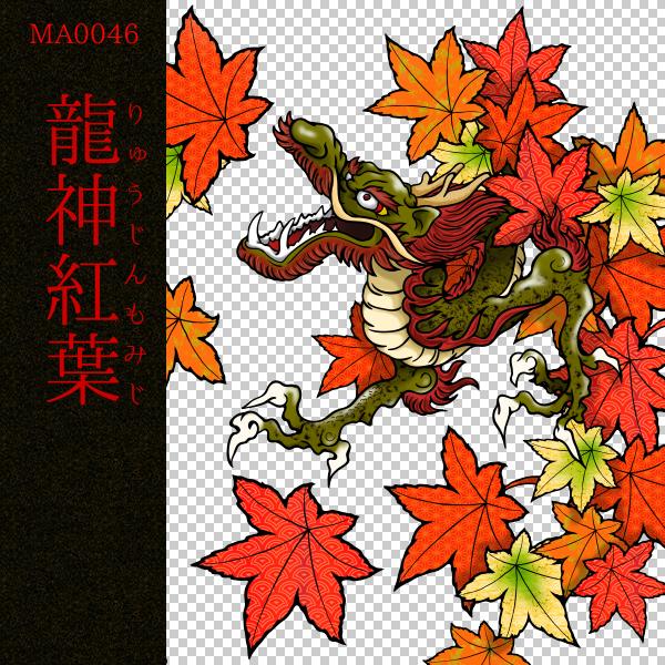 [和柄デザイン]MA-0046 龍神紅葉