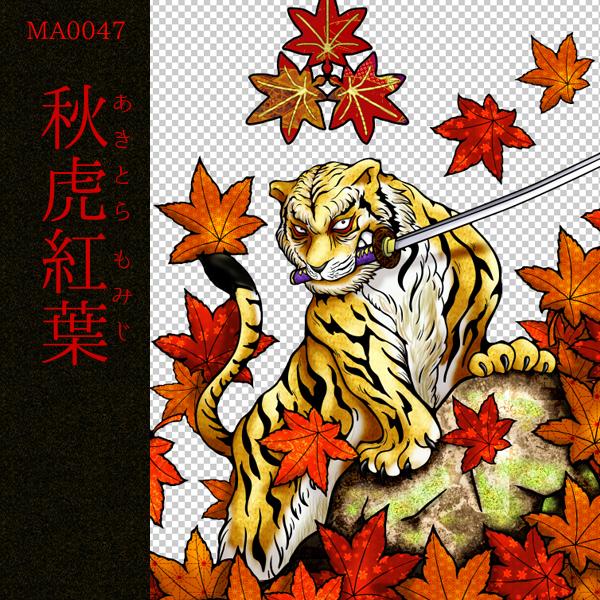 [和柄デザイン]MA-0047 秋虎紅葉