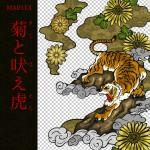 [和柄デザイン]MA-0113 菊と吠え虎
